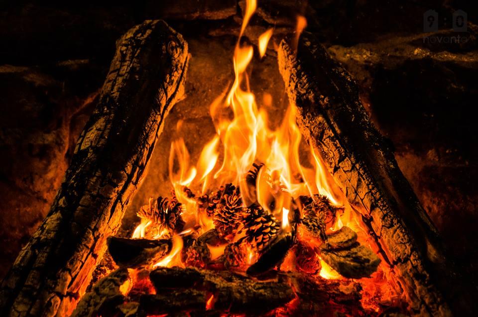 roaring fire in winter